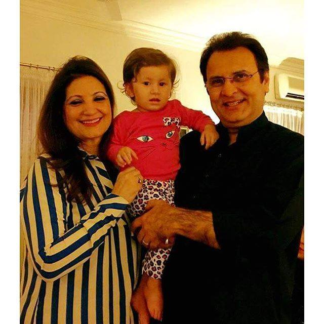 Mr and Mrs Behroz Sabzwari with their grand daughter Nooreh
