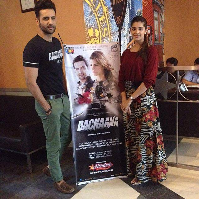 Muhib Mirza and Sanam Saeed during promotions of their upcoming film 'Bachaana'