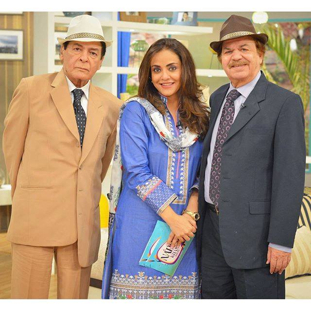 Our legends Qavi Khan sab and Qazi Wajid Sab in Nadia Khan Show