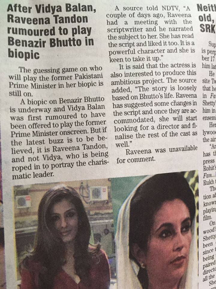 Raveena Tandon To Play Benazir Bhutto In Biopic