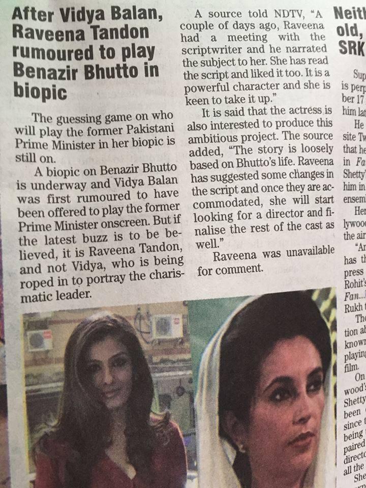 Raveena Tandon To Play Benazir Bhutto In Biopic