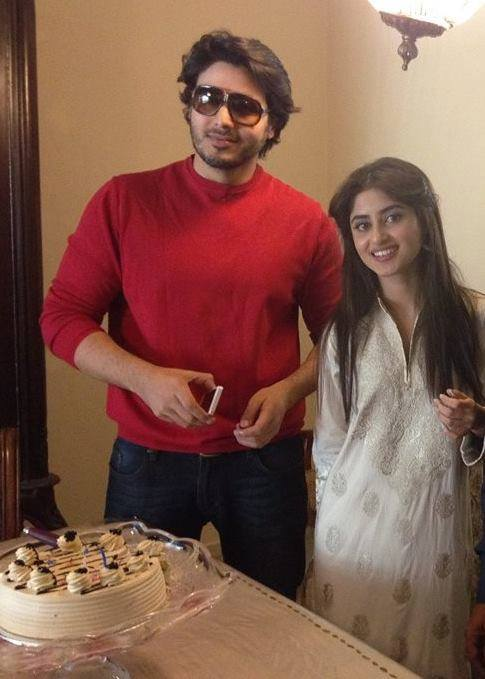 Sajal Ali Celebrated Her Birthday On Shoot With Ahsan Khan