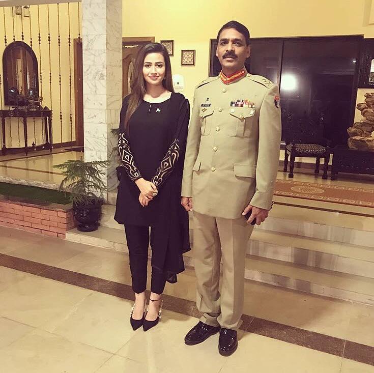 Sana Javed With Maj Gen Asif Ghafoor