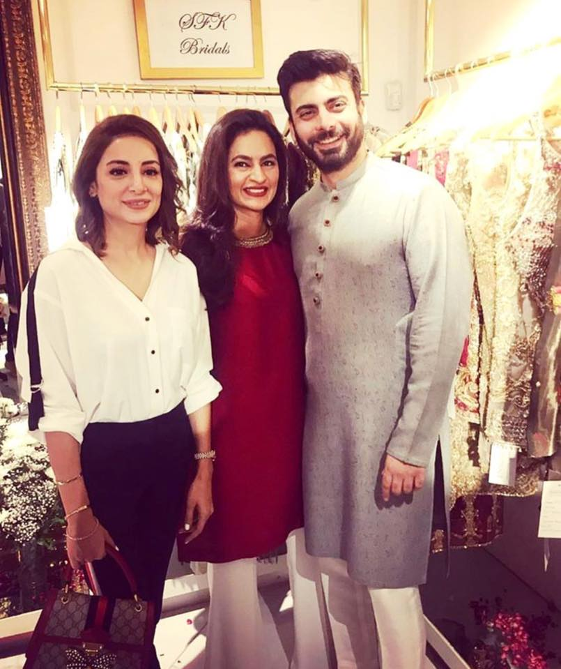 Sarwat Gillani With Fawad & Sadaf At SFK Bridals Exhibition