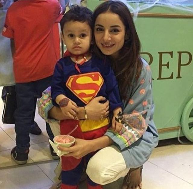 Sarwat Gillani With Her Little Super Man