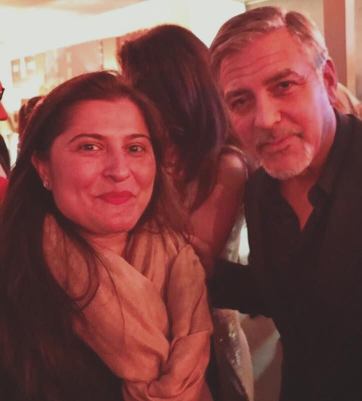 Sharmeen Obaid Chinoy With George Clooney At WEF 2017