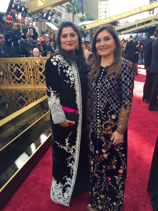 Sharmeen Obaid with her Mother at the red carpet of Oscars