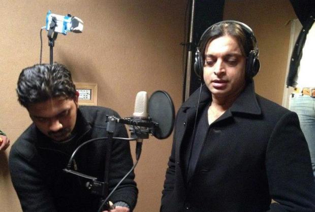 Shoaib Akhtar recording his debut song for movie Saya-E-Khuda E Zuljalal