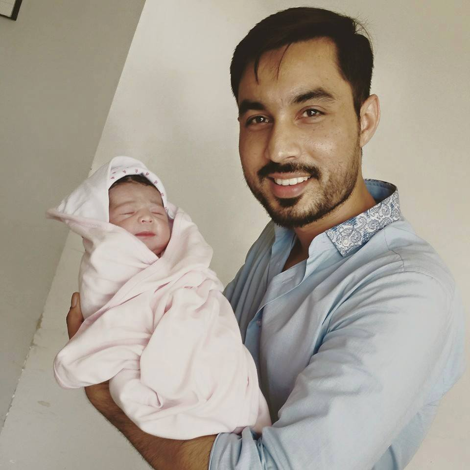 Sohail Haider With His Newly Born Daughter