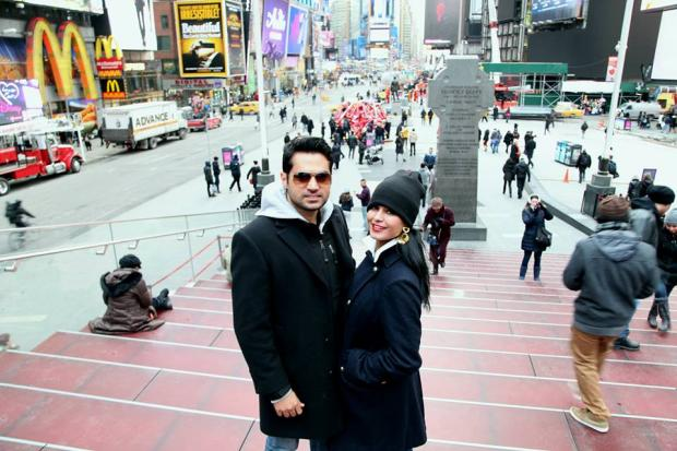 Veena Malik with Husband on World Tour