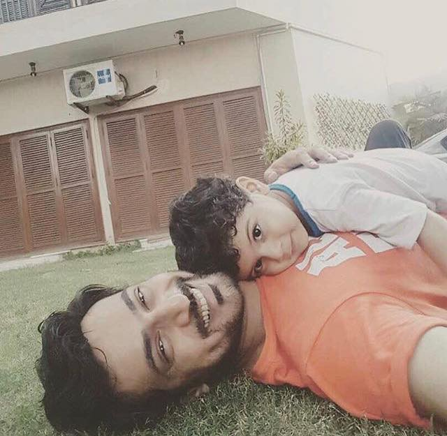 Zahid Ahmed Relaxes With His Son