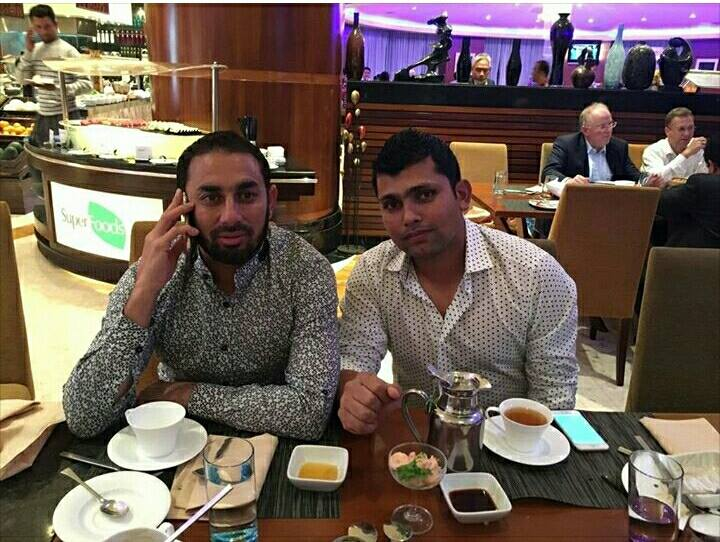 ‪‎Saeed Ajmal‬ and ‎Kamran Akmal in Bangladesh Hotel‬