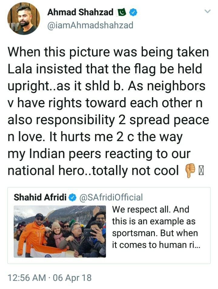 Ahmad Shehzad Tweets On Afridi Tweet