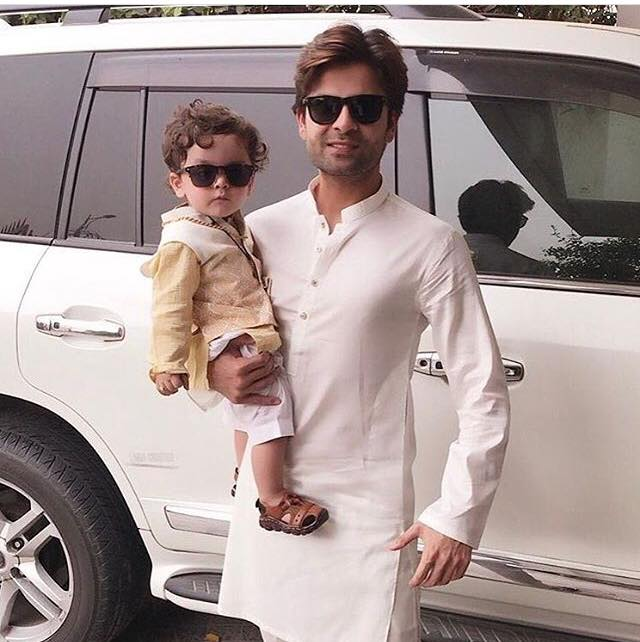 Ahmed Shahzad With His Son On Eid