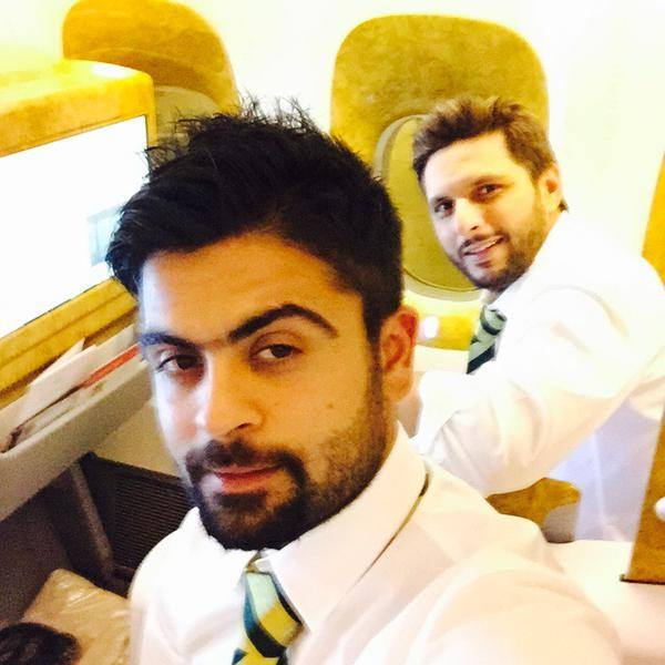 Ahmed Shehzad With Shahid Afridi Selfie in Plane