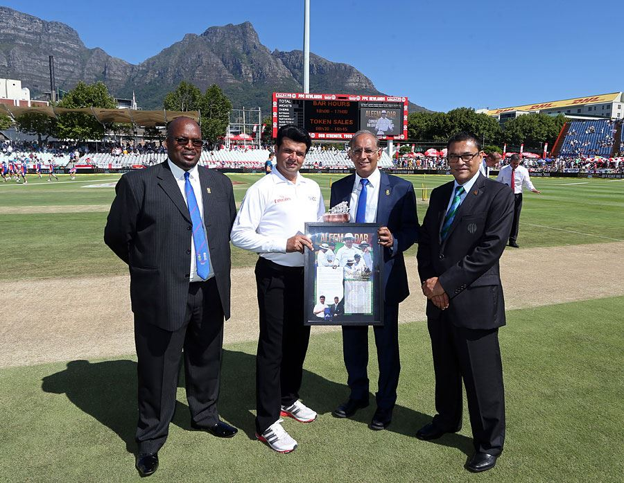 Aleem Dar Was Presented With a Memento OF His 100th Test