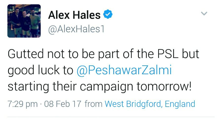 Alex Hales Tweets About PSL
