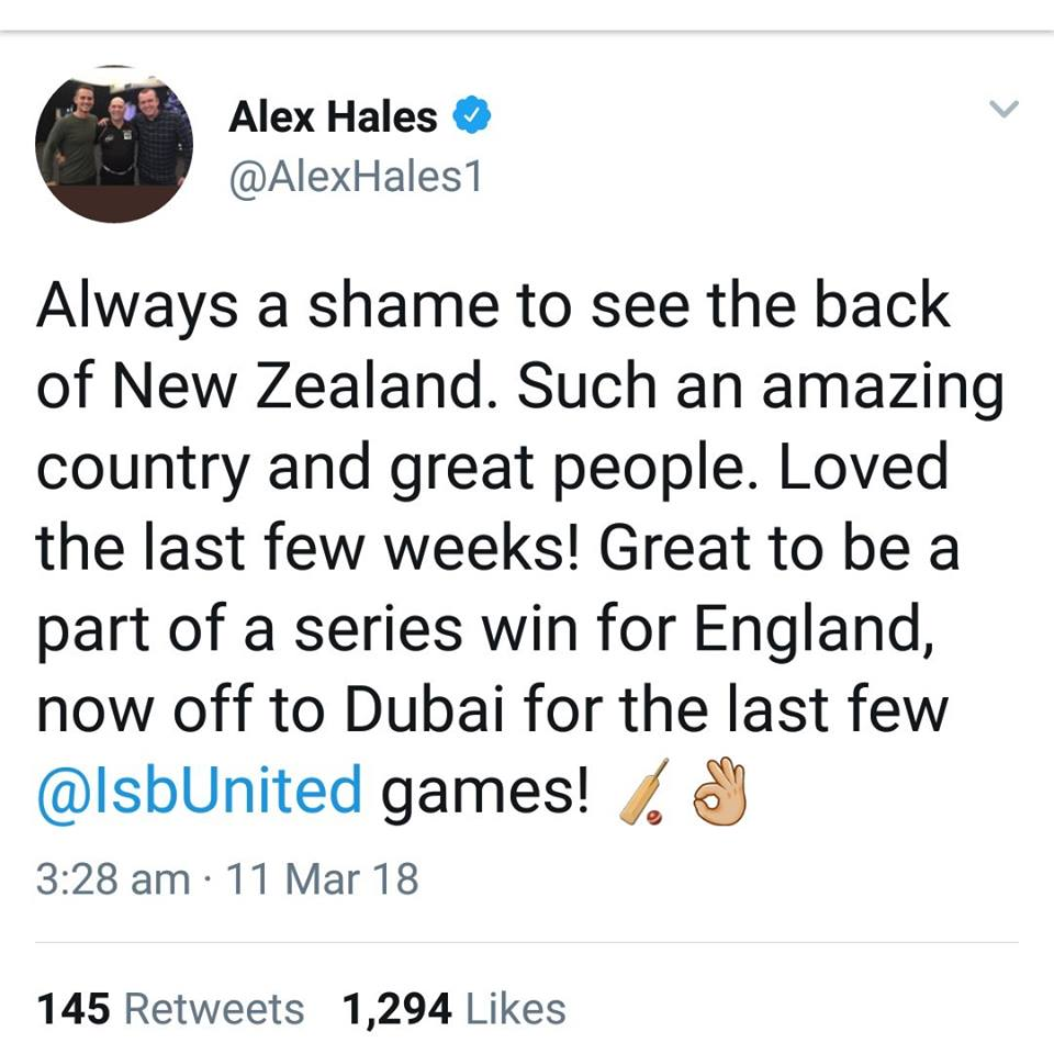 Alex Hales Will Be Joining Islamabad United