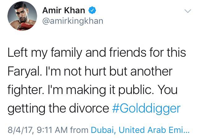 Amir Khan Tweets Today That He Is Divorcing Wife