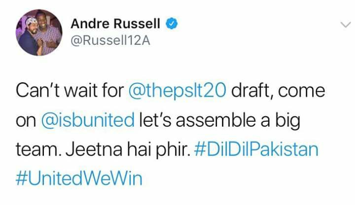 Andre Russel Tweets For PSL 3