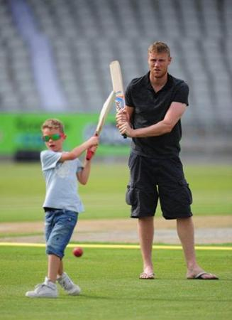 Andrew Flintoff His Son Corey Plays A Shot