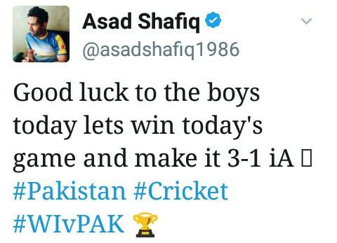 Asad Shafiq tweet For Forth T20