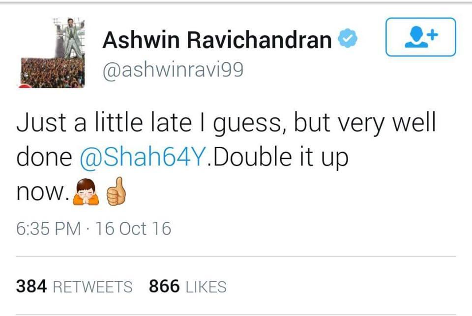Ashwin praises Yasir Shah