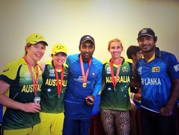 Australian Women Players Posing With Sangakkara & Mahela