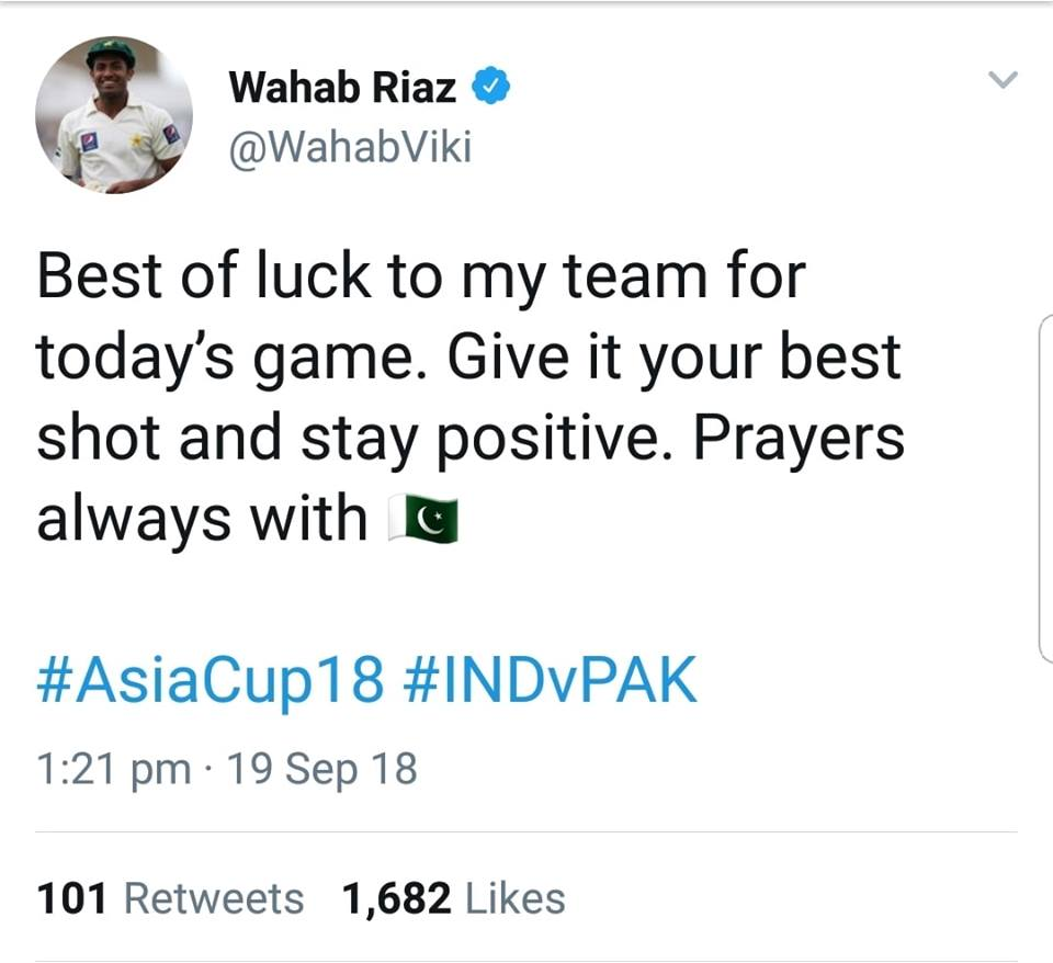 Best Wishes From Wahab Riaz Ahead Of Pak-Ind Asia Cup