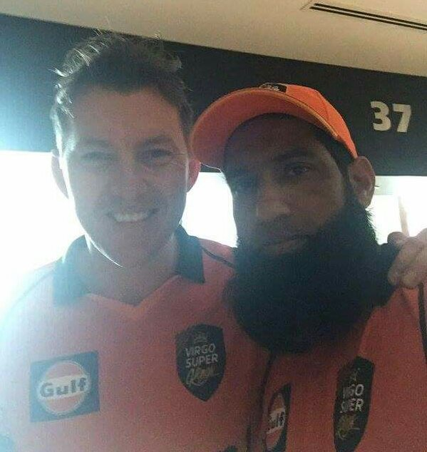 Brett Lee and Muhammed Yousuf pictured together in UAE