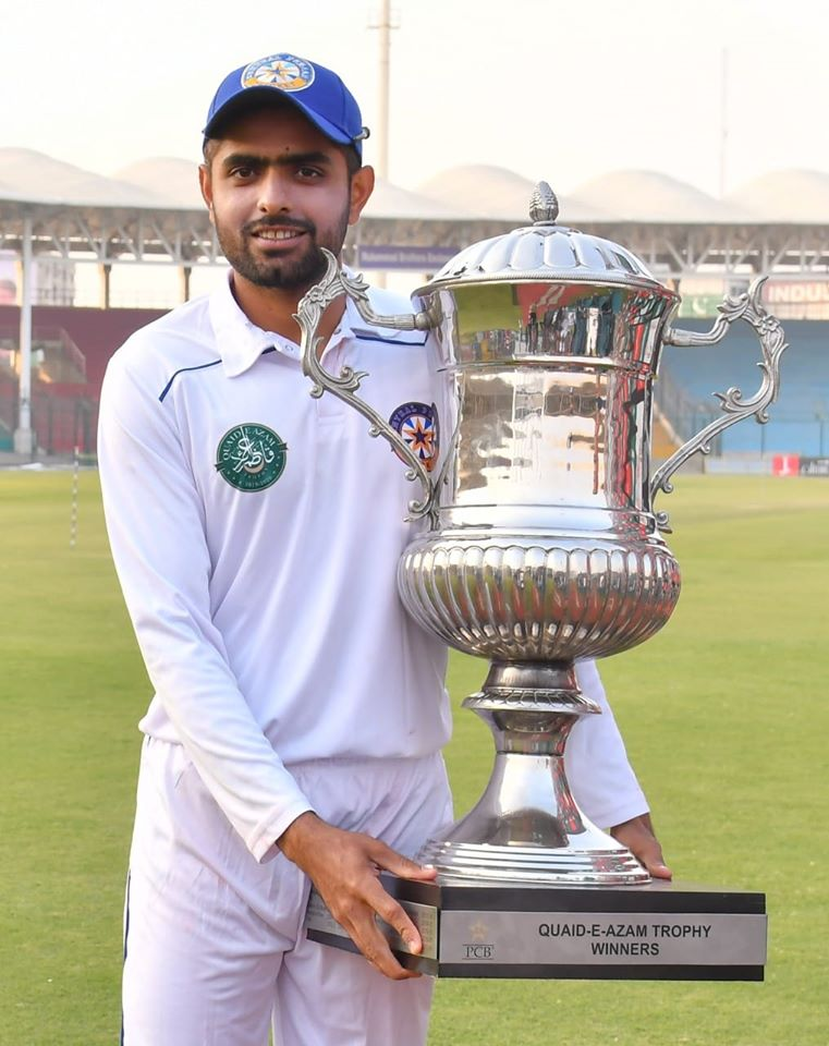 Captain Babar Azam With Quaid-e-Azam Trophy 2019 Winning Trophy