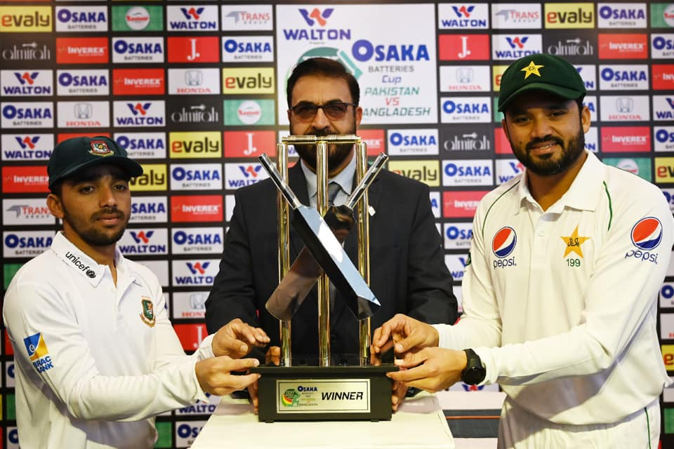 Captains Of Pakistan And Bangladesh Unveiled Test Series Trophy