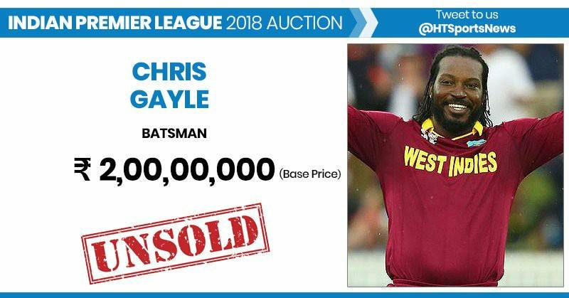 Chris Gayle Go Unsold In IPL Auction 2018