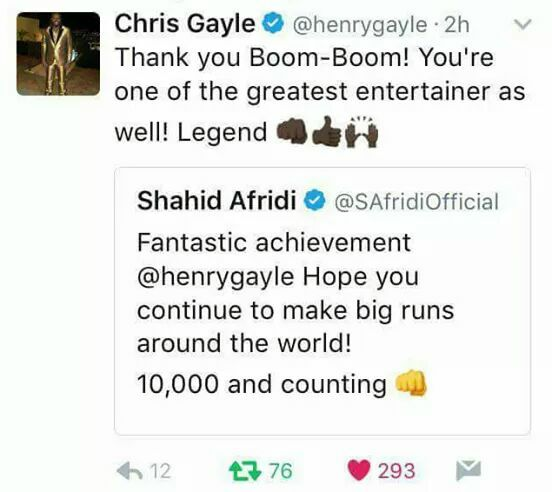 Chris Gayle Tweet About Afridi