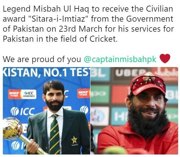 Congratulations Misbah Ul Haq To Receive The Civilian Award