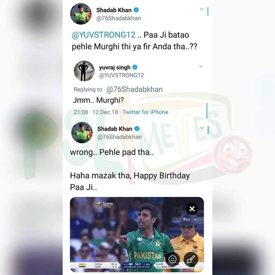 Conversation Between Yuvraj Singh & Shadab khan