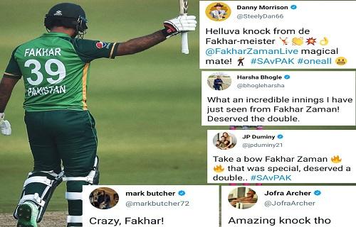 Cricket Fraternity Praises Fakhar Zaman's 193 Runs Knock
