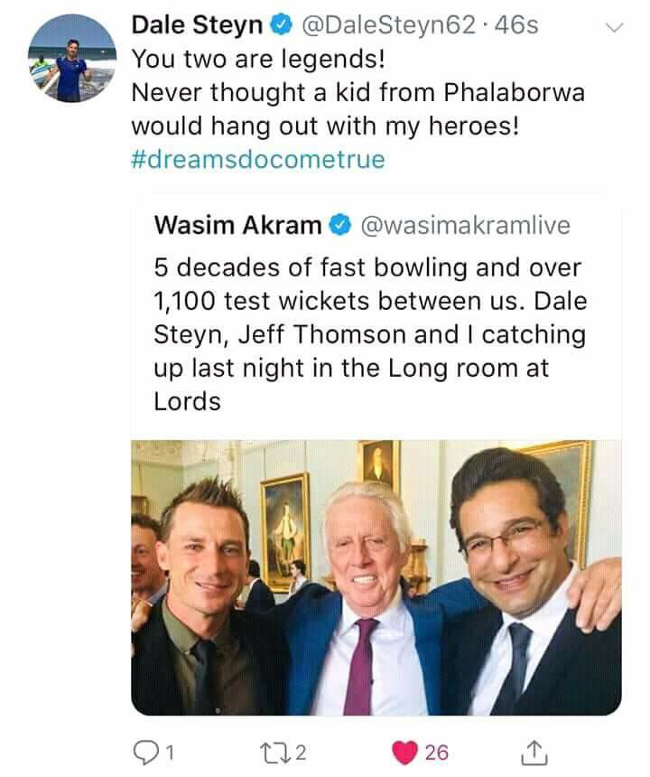 Dale Steyn Tweets For Wasim Akram