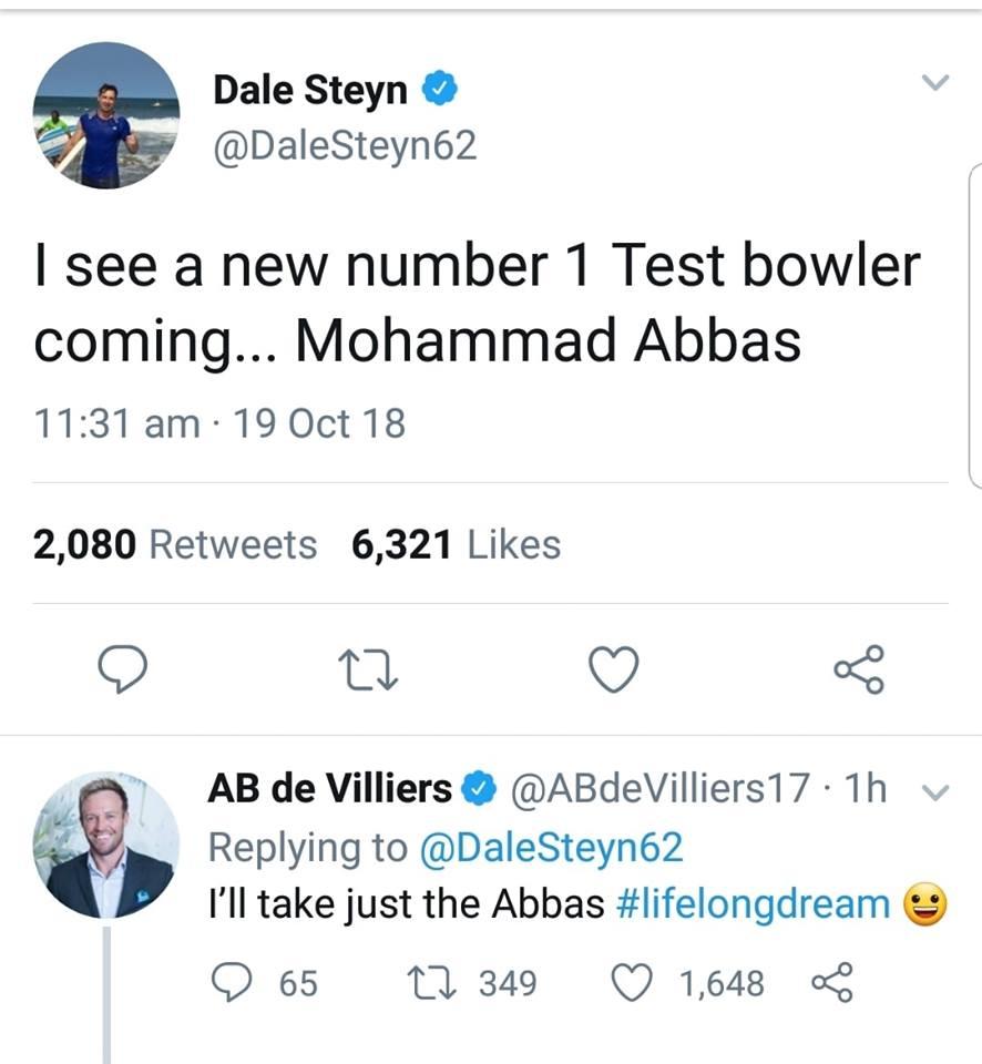 Dale Steyn & AB De Villiers On Mohammad Abbas