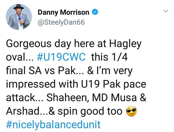 Danny Morrison Tweeted About U19 WC