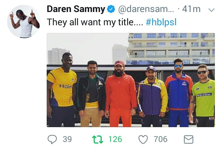 Daren Sammy Tweeted About PSL 3