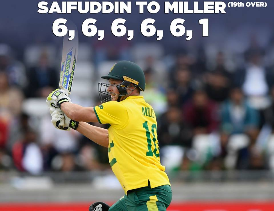 David Miller Smashes Five Consecutive Sixes off Saifuddin