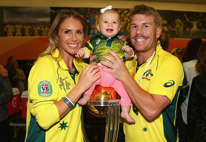 David Warner baby Sitting On Trophy