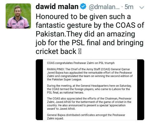 Dawid Malan Tweeted About COAS Of Pakistan