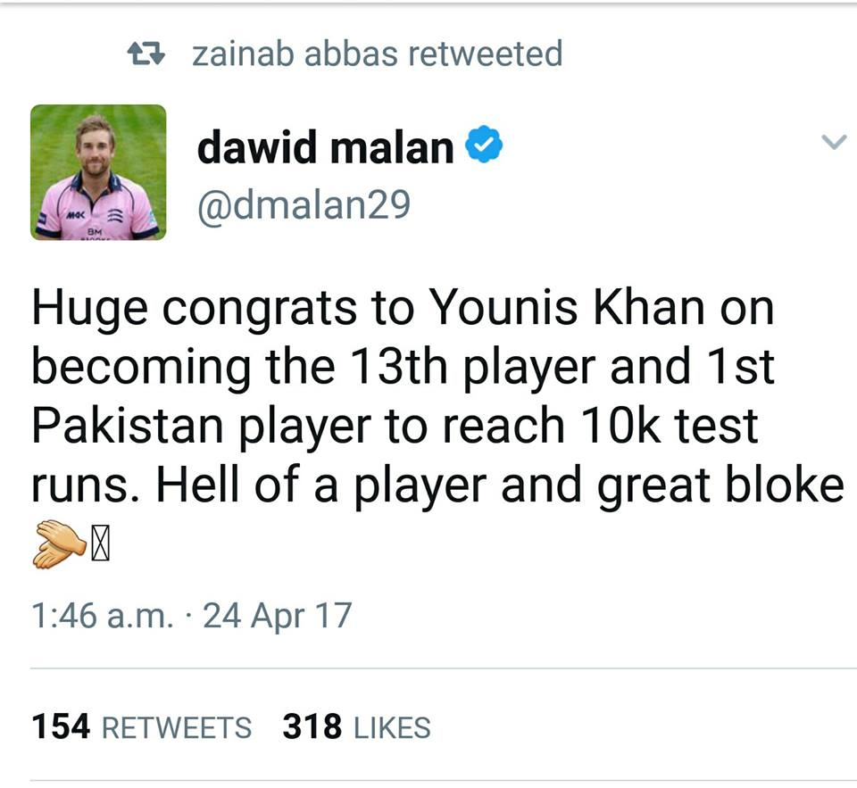 Dawid Malan Tweets On YK 10,000 Runs