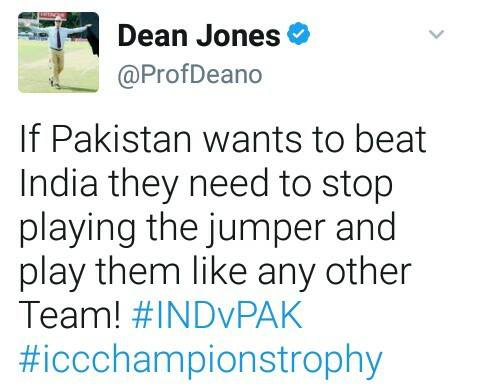 Dean Jones Tweet About Pak-India Match
