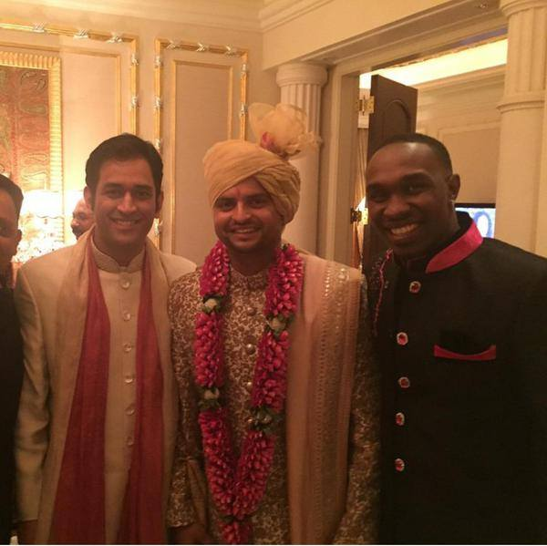 Dhoni And Bravo At Raina's Wedding