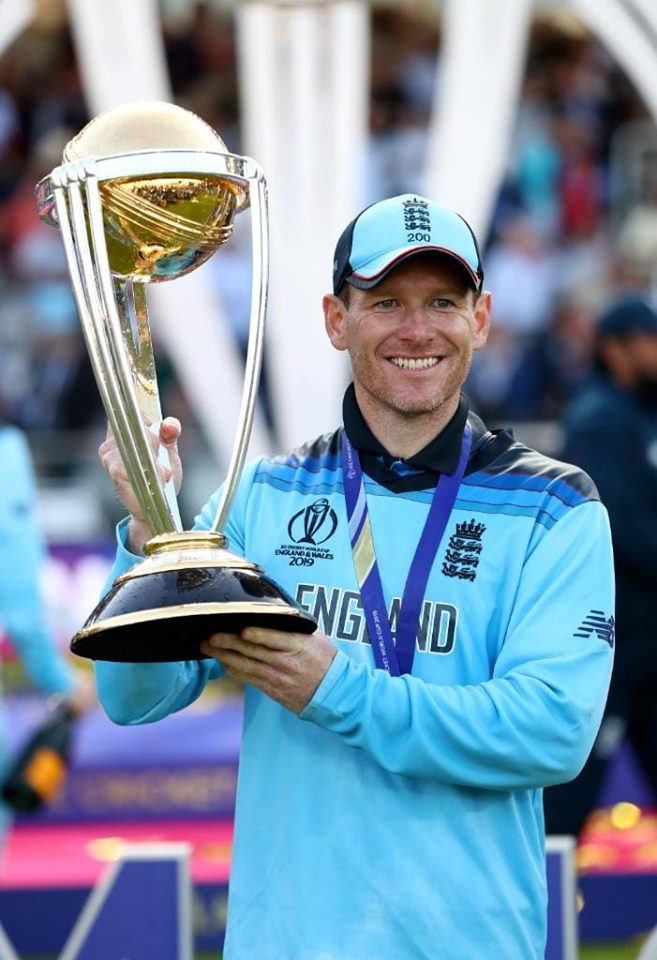 England Captain Eoin Morgan Poses With Winning Trophy
