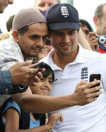 England Cricket Team Captain Alastair Cook Poses With Fans