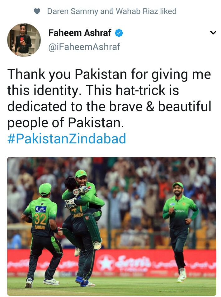 Faheem Ashraf Tweeted About His Hat-Trick